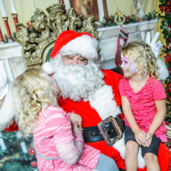Santa visits with twins